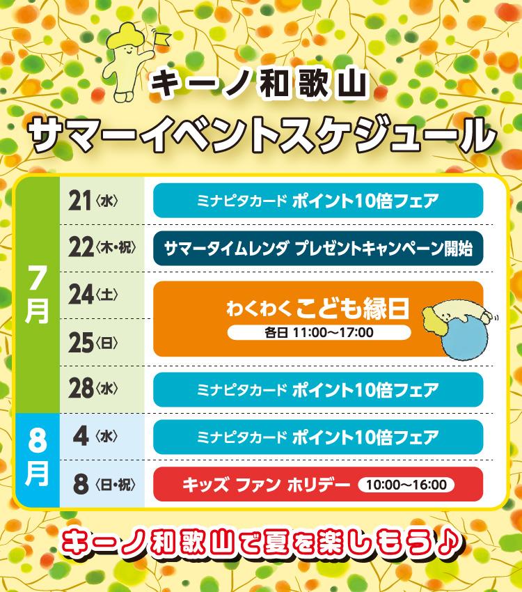 キーノ和歌山 サマーイベントスケジュール